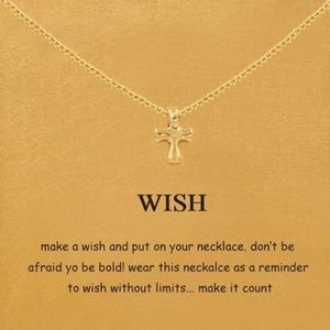 Gold Plated Cross Wish Clavicle Necklace